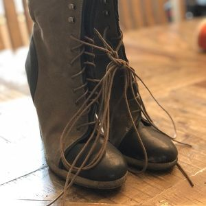 Jcrew Lace-up canvas and leather boots